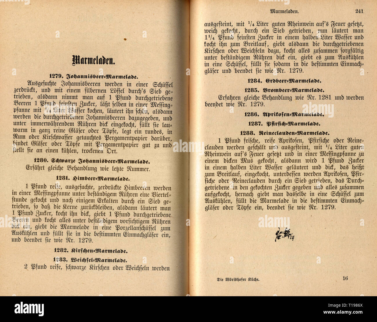 """household, cooking and baking, cookbook, """"Die Woerishofer Kueche"""" (The Woerishofen Diet), by Agathe Haggenmiller, paragraph on marmalades, Woerishofen, 1897, Additional-Rights-Clearance-Info-Not-Available Stock Photo"""