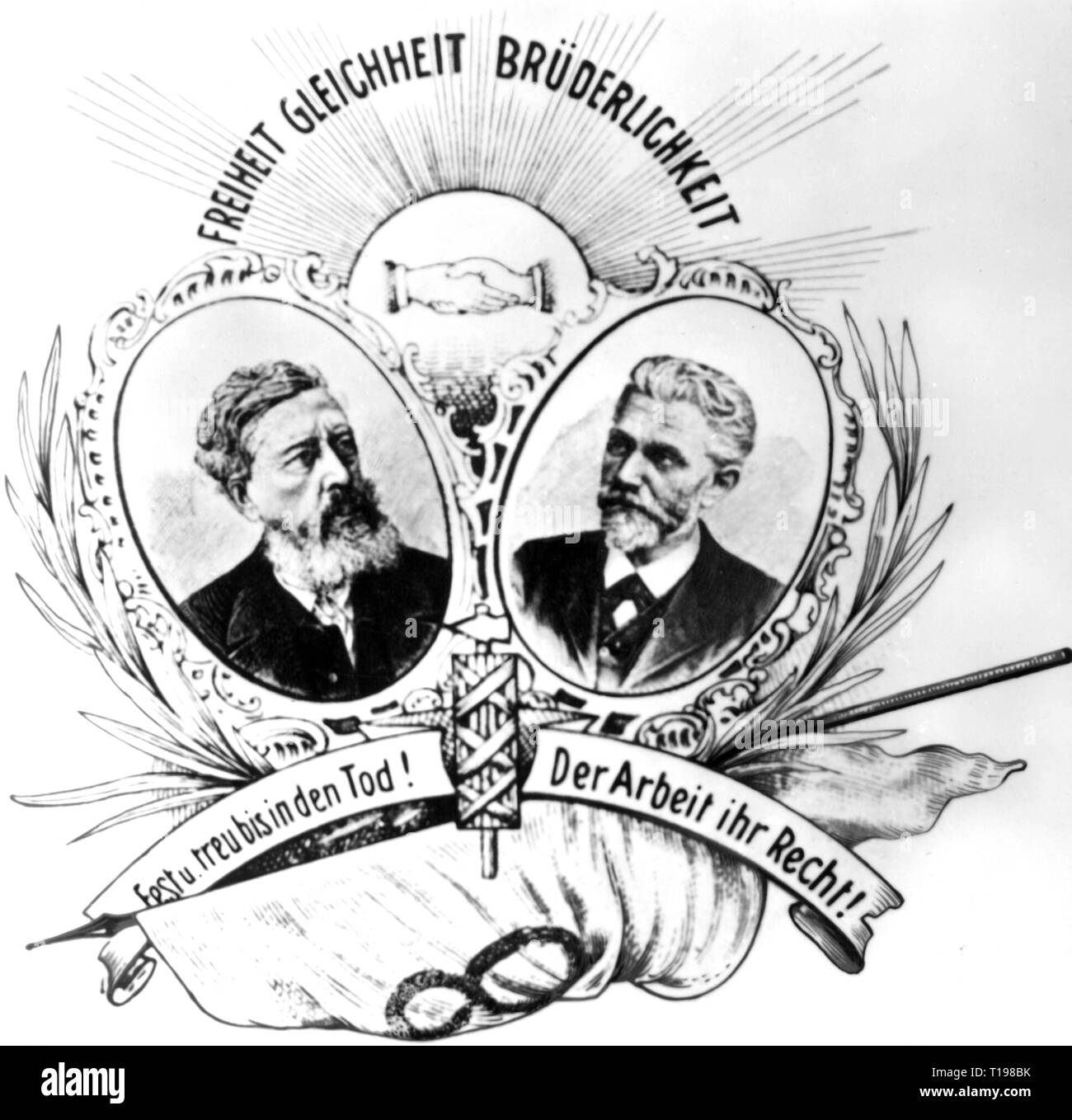politics, labour movement, portraits of William Liebknecht and August Bebel, motto 'Liberty, Equality, Brotherliness', postcard to the First of May, detail, Germany, circa 1910, Additional-Rights-Clearance-Info-Not-Available - Stock Image