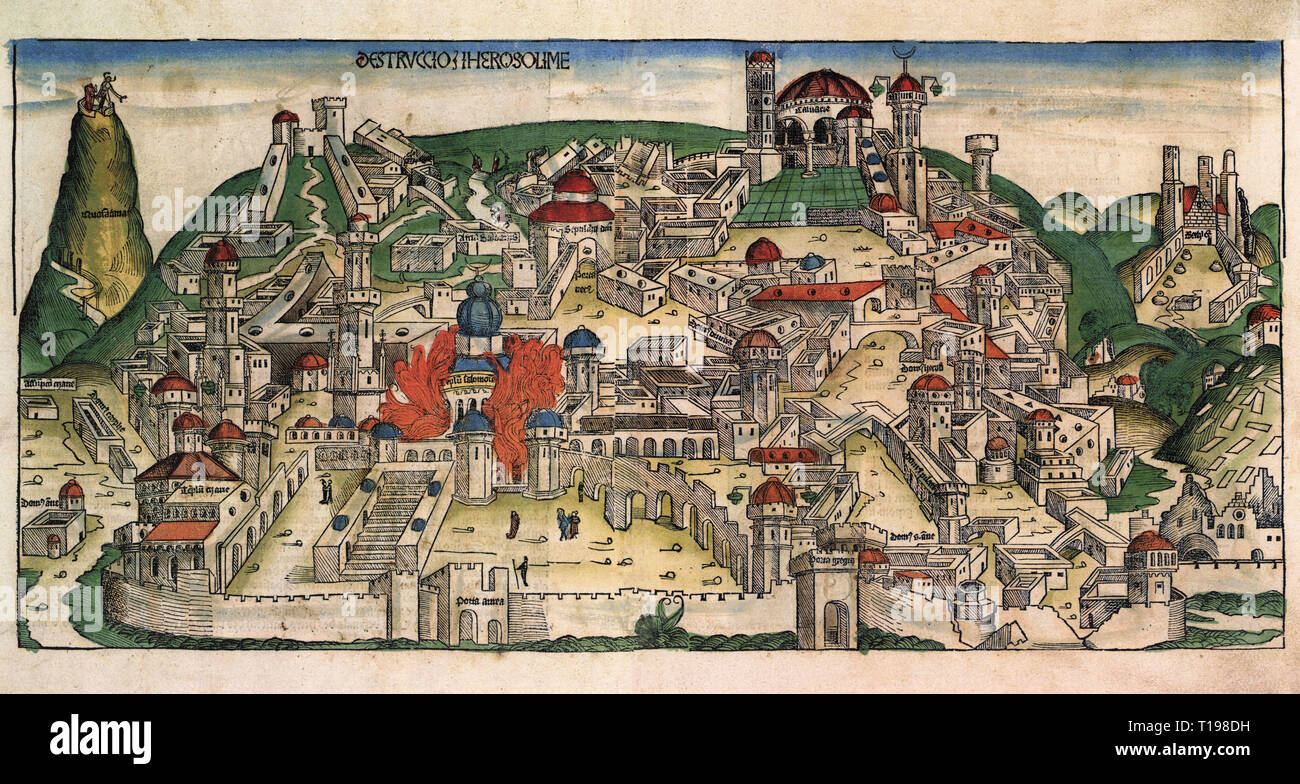 Jewish War 66 - 74 AD, destruction of the temple in Jerusalem by the Romans, 70 AD, woodcut by Michael Wolgemut or Wilhelm Pleydenwurff to the chronicle of the Hartmann Schedel, Nuremberg, 1493, Artist's Copyright has not to be cleared - Stock Image