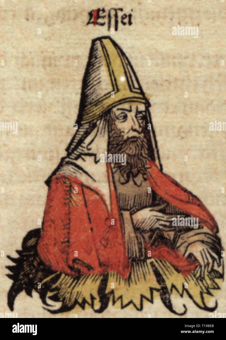 religion, Judaism, Essene, woodcut by Michael Wolgemut or Wilhelm Pleydenwurff to the chronicle of Hartmann Schedel, Nuremberg, 1493, Artist's Copyright has not to be cleared - Stock Image