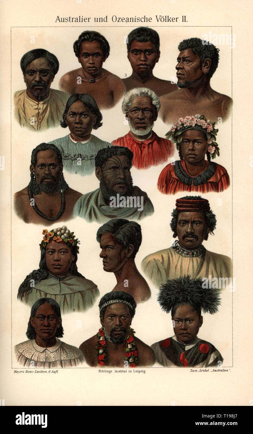 people, ethnicity, Australian and Oceanic nations II, Micronesia, 1: Gilbert islander, 2 and 3: from Palau, man and woman, 4: Caroline Islands islander, 5: Ruck islander, 6: Marshall islander, 7: Tonga islander, 8: Hervey islander, 9: New Zealander, 10: Markesas islander, 11 and 12: from the Society Islands, man and woman, 13: Tuamotu islander, 14 and 15: from Samoa, man and woman, colour lithograph, colour plate, Meyers Konversations-Lexikon, 6th edition, volume 2, 1904, Gilbert Islands, Marshall Islands, Cook Islands, New Zealand, Maori, Marque, Additional-Rights-Clearance-Info-Not-Available - Stock Image