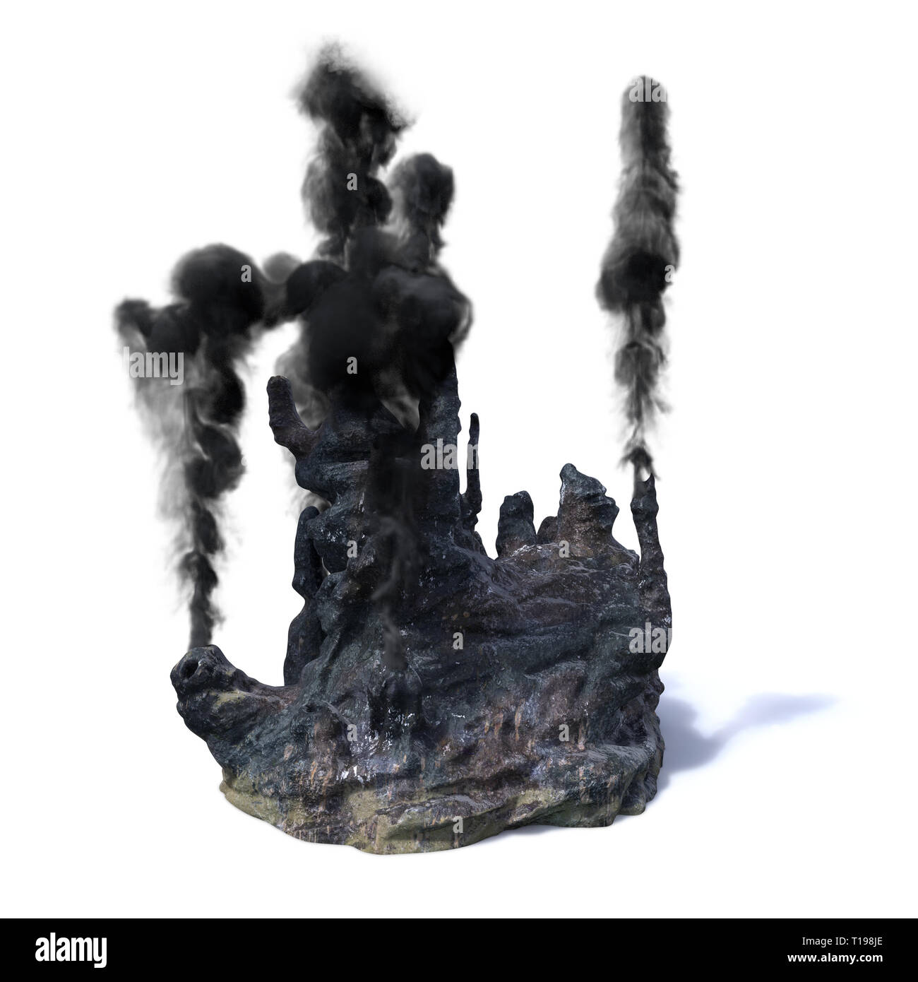 hydrothermal vents, black smoker (3d rendering isolated on white background) - Stock Image