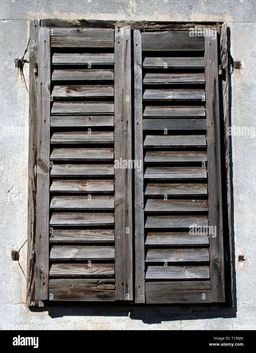 Old Rustic Wooden Blinds On A Window Frame Stock Photo Alamy