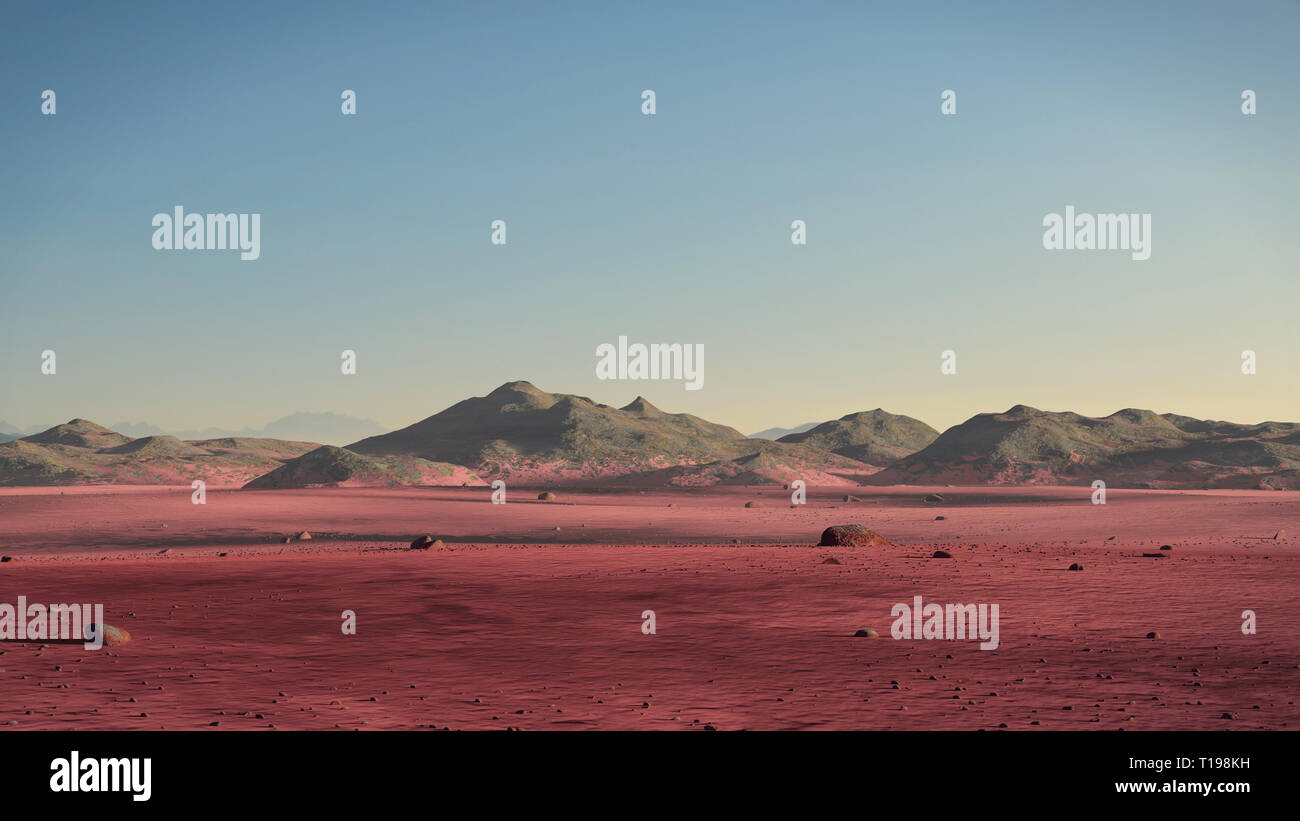 planet Mars landscape, desert and mountains on the red planet's surface - Stock Image