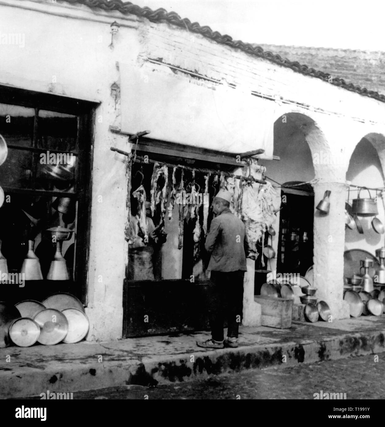 geography / travel historic, Albania, cities and communities, Tirana, trade, shops for metal goods and butcher, 1930s, Additional-Rights-Clearance-Info-Not-Available - Stock Image