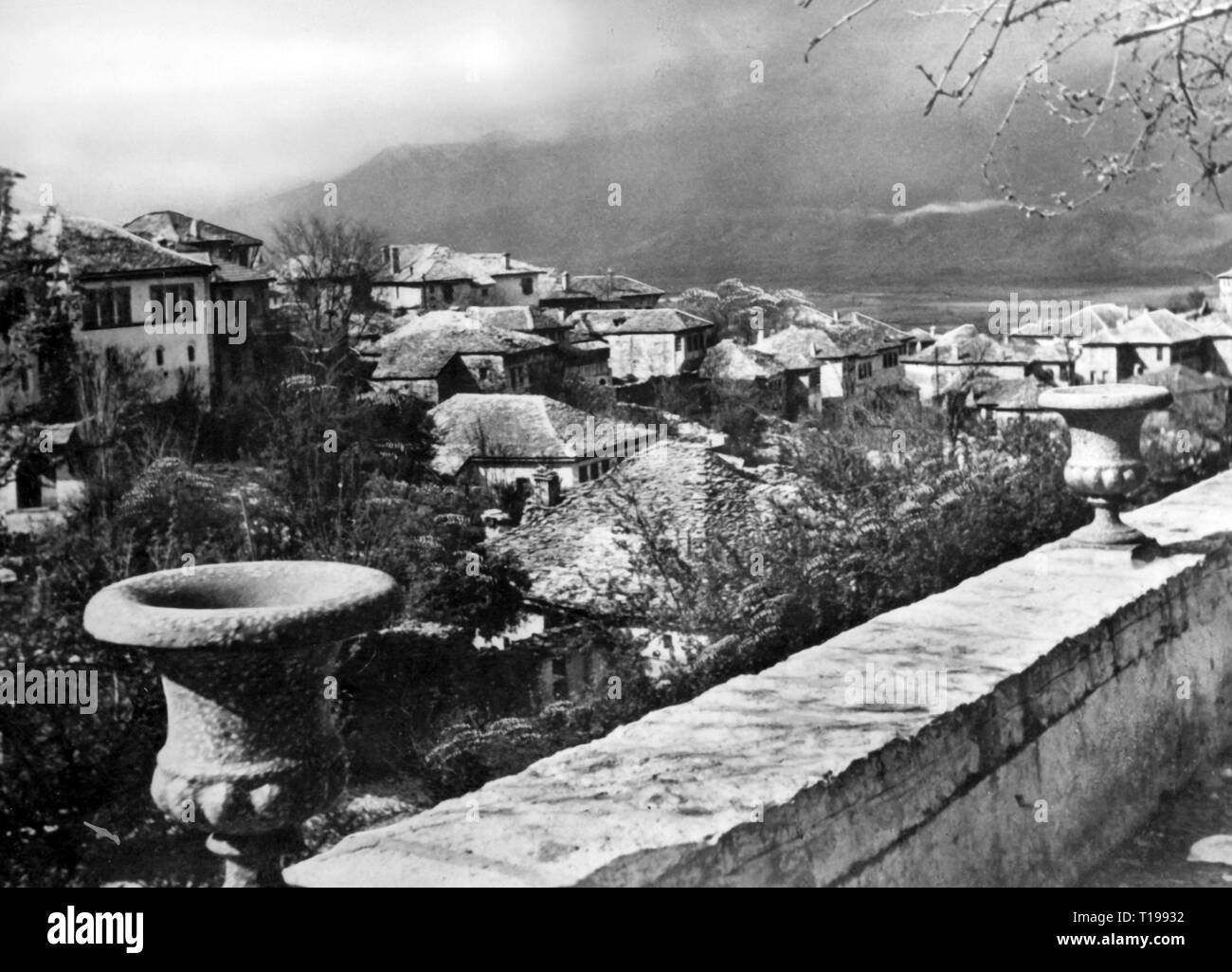 geography / travel historic, Albania, cities and communities, Tirana, city view / city views, overview, 1930s, Additional-Rights-Clearance-Info-Not-Available - Stock Image
