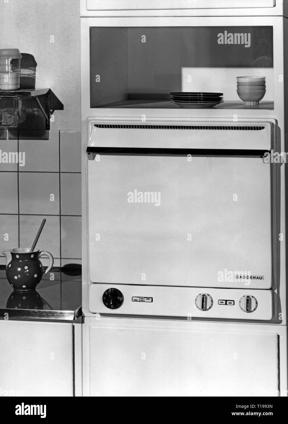 household, kitchen and kitchenware, built-in oven 403 by 'Gaggenau', 1950s, Additional-Rights-Clearance-Info-Not-Available - Stock Image