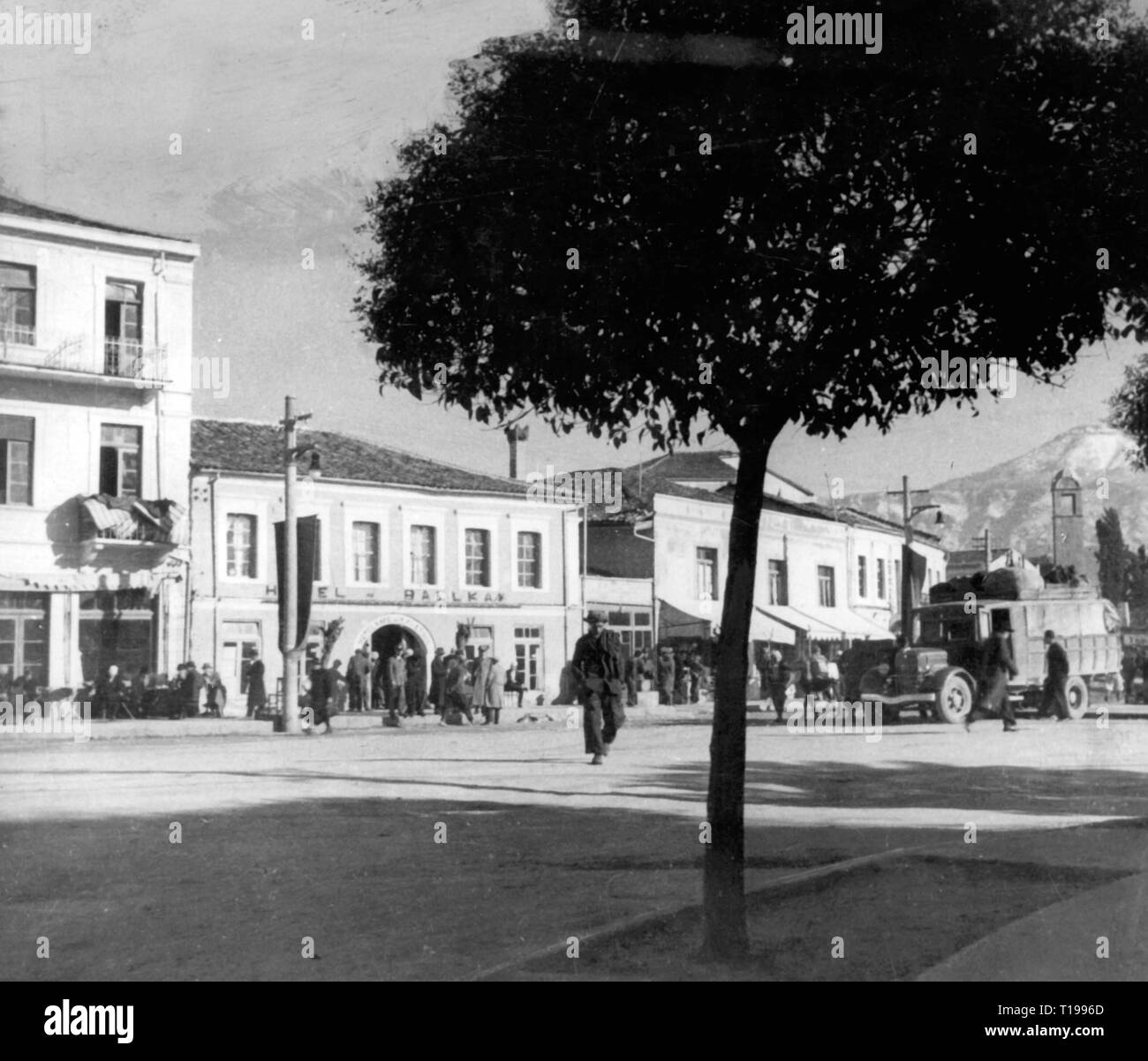 geography / travel historic, Albania, cities and communities, Tirana, streets, street scene, 1930s, Additional-Rights-Clearance-Info-Not-Available - Stock Image