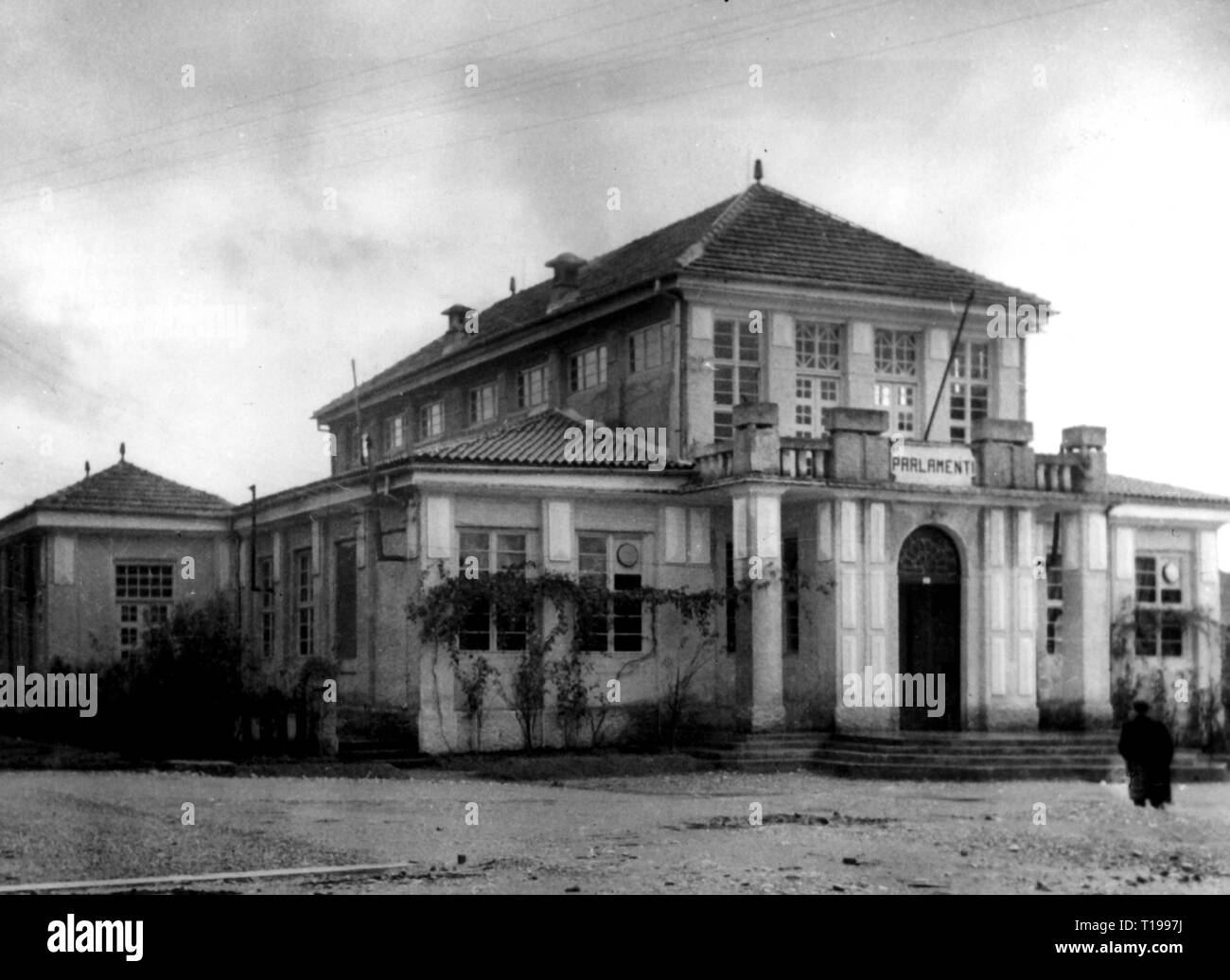 geography / travel historic, Albania, cities and communities, Tirana, building, parliament, exterior view, 1930s, Additional-Rights-Clearance-Info-Not-Available - Stock Image