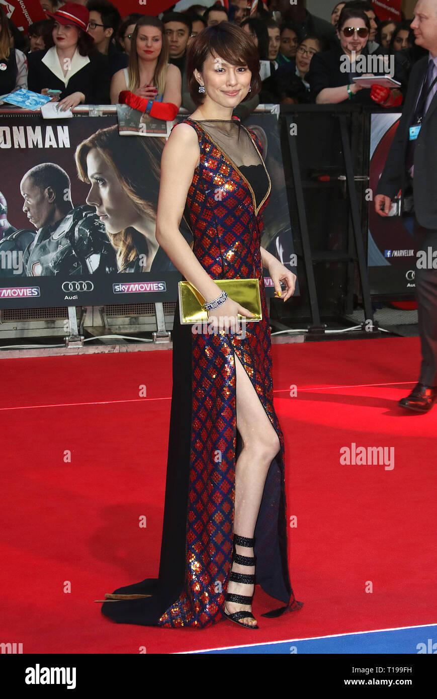 Apr 26, 2016 - London, England, UK - Captain America: Civil War European Film Premiere, Vue Westfield - Red Carpet Arrivals Photo Shows: Ryoko Yonekur - Stock Image