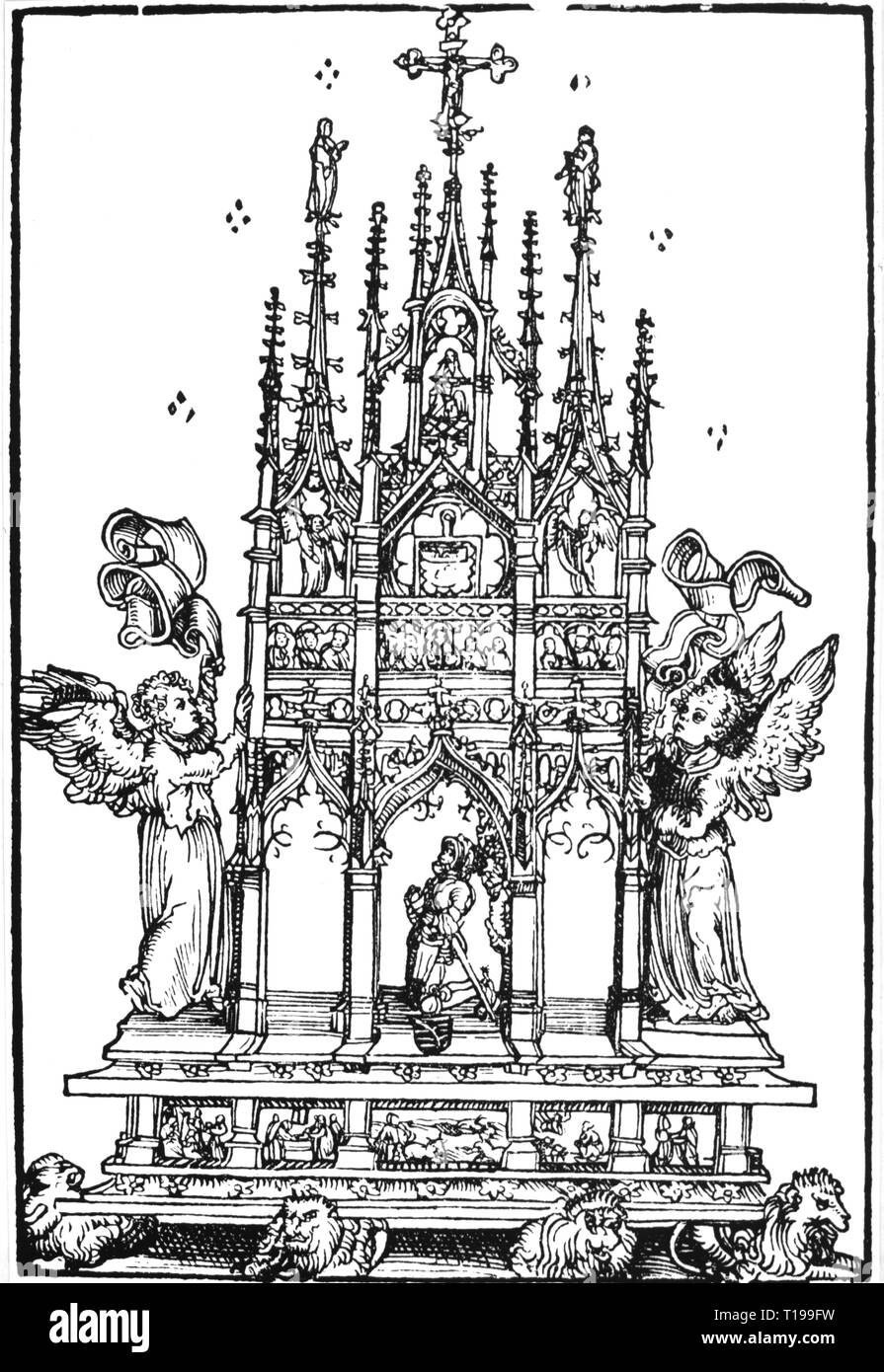 religion, Christianity, altars, Gothic home altar, woodcut by Lucas Cranach the Elder (1472 - 1553), from: 'Wittenberger Heiltumsbuch', Wittenberg, 1509, Additional-Rights-Clearance-Info-Not-Available - Stock Image