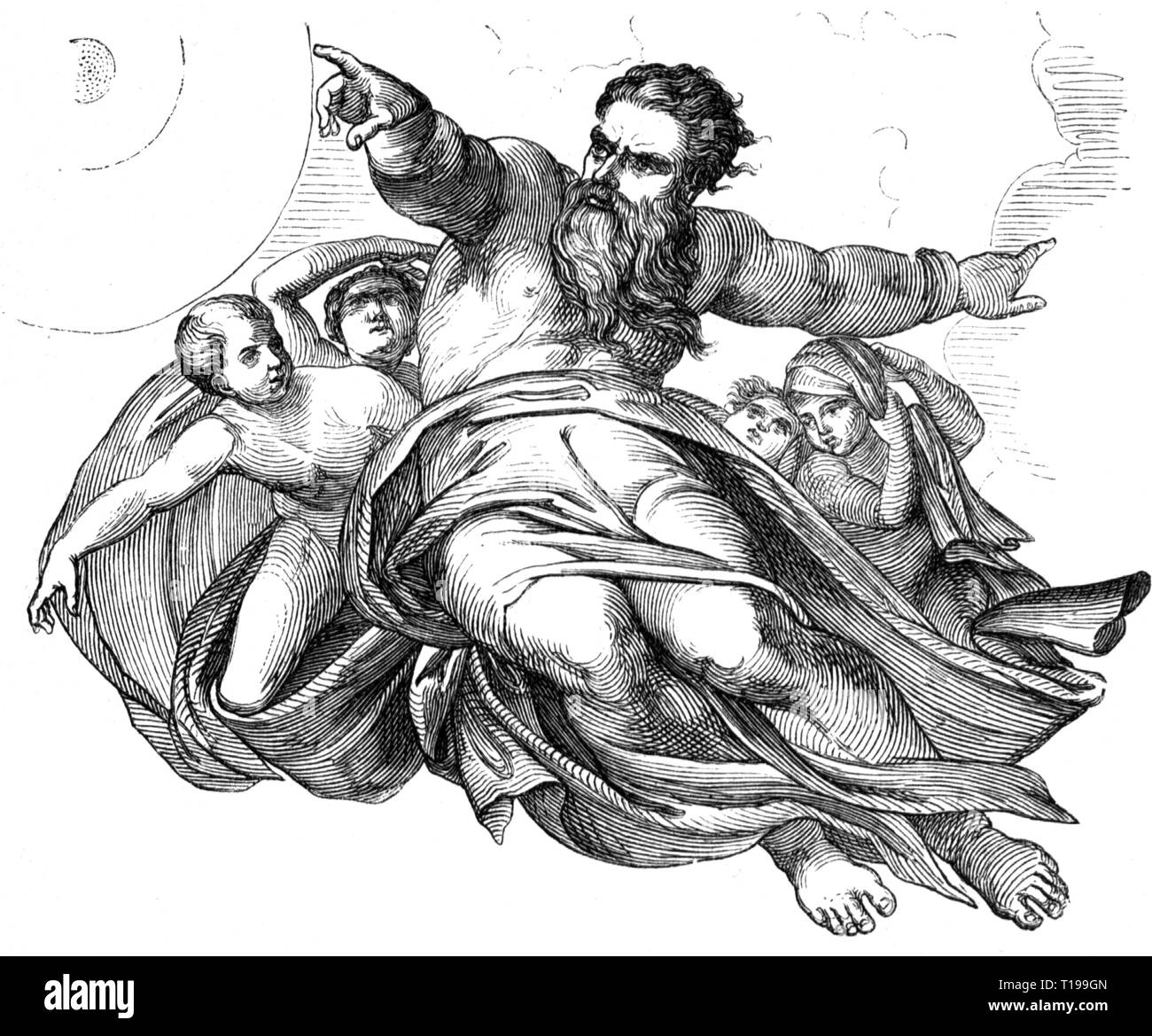 religion, Christianity, God, God the Father, adapted from painting by Michelangelo (1475 - 1564), wood engraving, 19th century, graphic, graphics, full-length, full length, beards, full beard, angel, angels, pointing, point, sun, suns, intellectual creation, Allfather, the Creator, almighty, world leader, crucifix, creator, creators, creation, creations, genesis, religion, religions, God, Gods, deity, divinity, deities, historic, historical, Artist's Copyright has not to be cleared - Stock Image