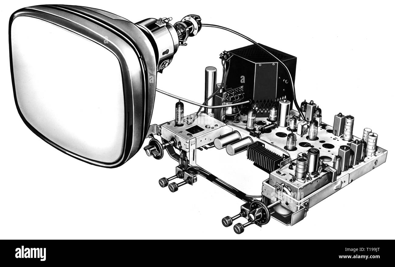 broadcast, television, chassis of a Grundig television set and 43 centimeter picture tube, Germany, later 1950s, Additional-Rights-Clearance-Info-Not-Available - Stock Image