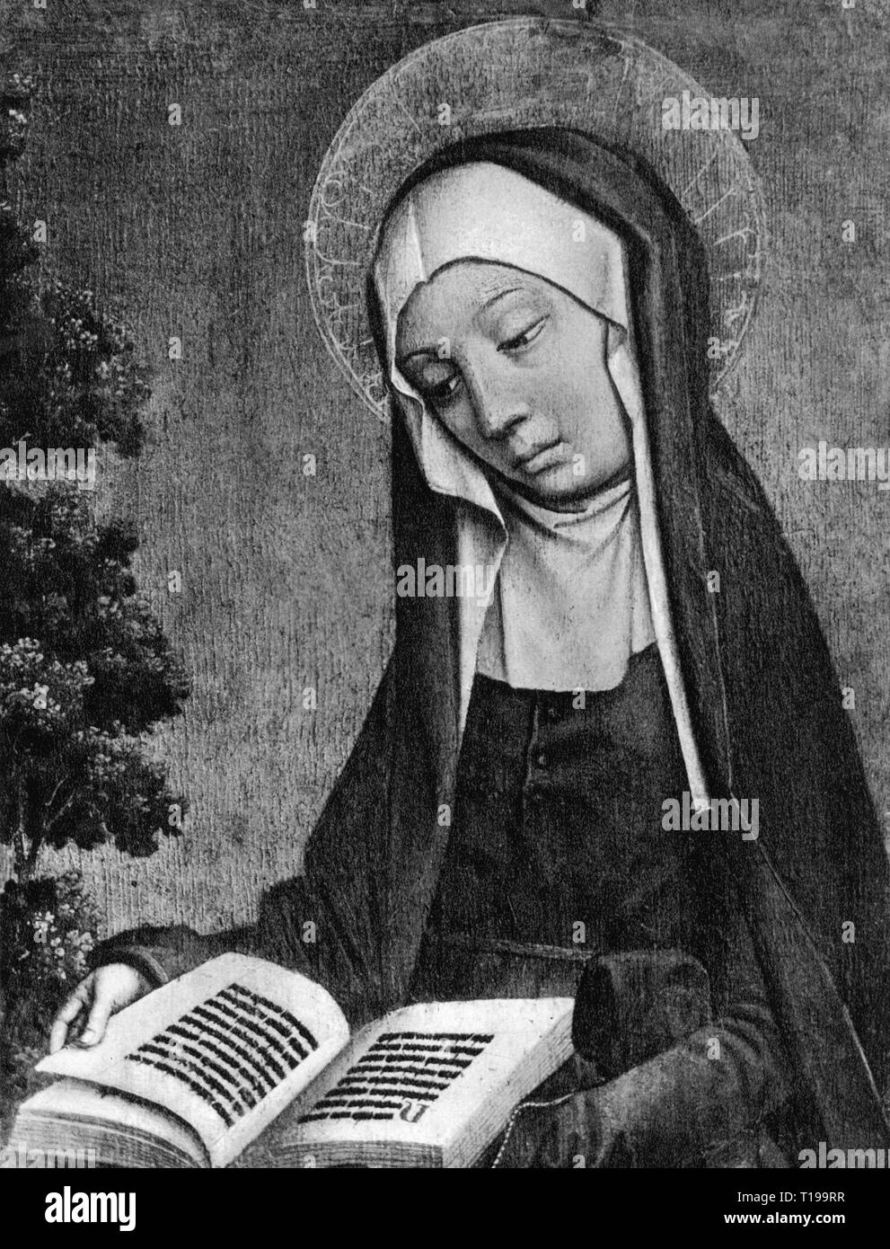 religion, Christianity, saint, unknown saint with book, painting, Dutch school, 15th century, missing, formerly Czartoryski museum, Krakow, Artist's Copyright has not to be cleared - Stock Image