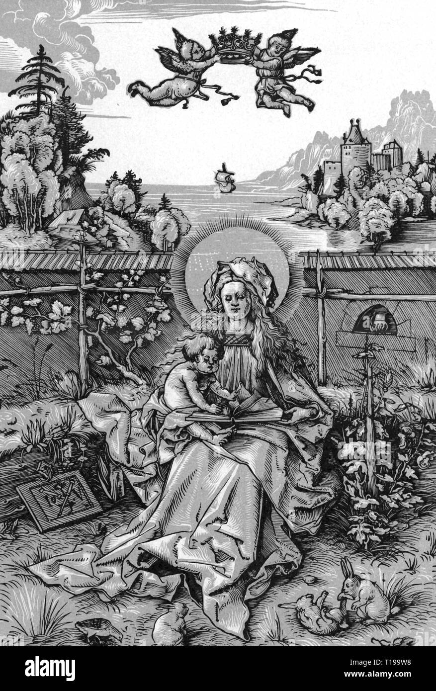 religion, Christianity, Madonna / Mary with child, 'Madonna on the grassy bank', bicolored copper engraving, by Johannes Wechtlin (* circa 1485), circa 1510, 26.9 x 18.1 cm, Royal gallery of prints, Berlin, Artist's Copyright has not to be cleared - Stock Image