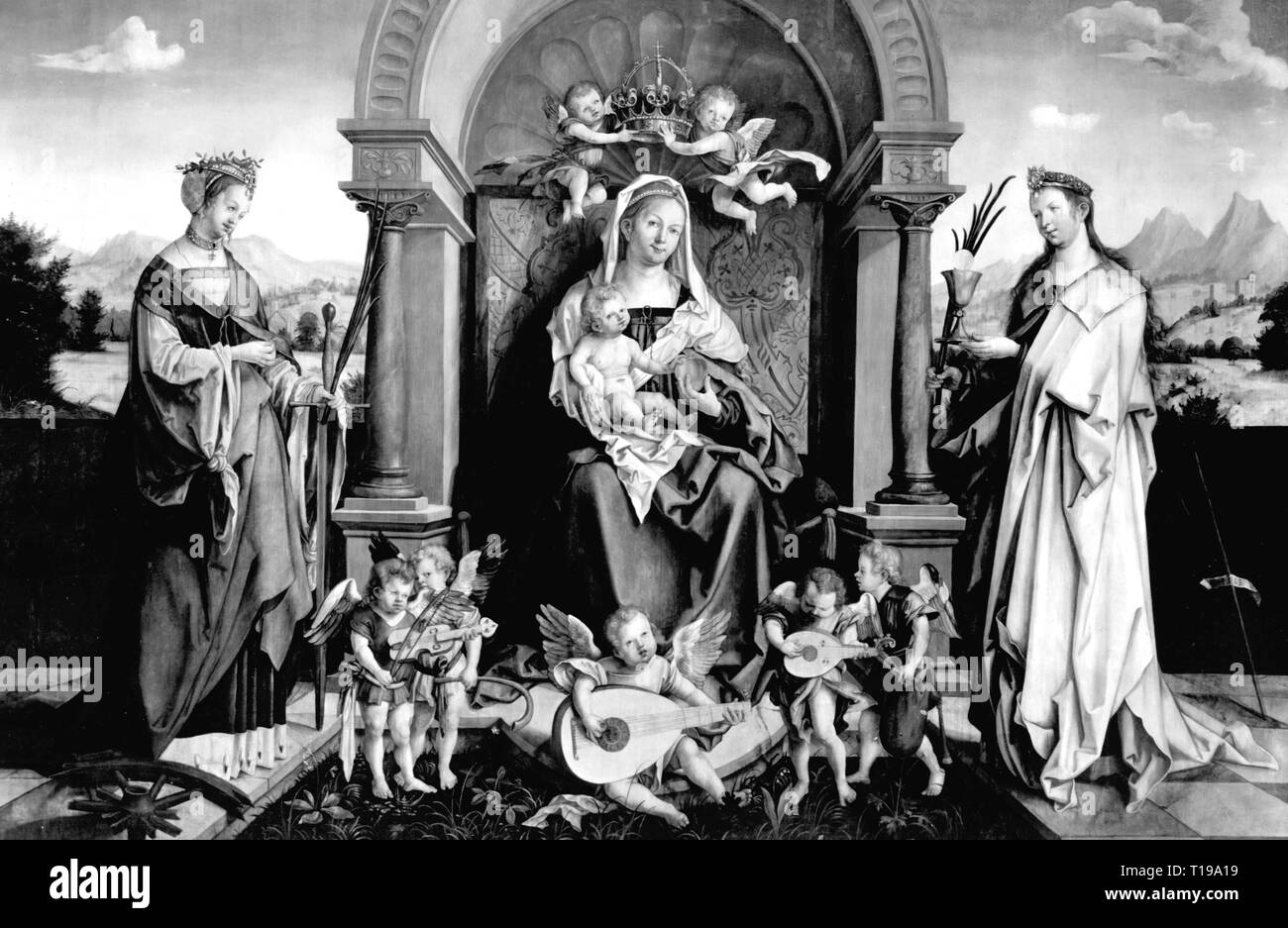 religion, Christianity, Madonna / Mary with child, commemorative picture for provost Lorenz Tucher, painting, by Hans of Kulmbach (circa 1480 - circa 1522), 1513, St. Sebaldus Church, Nuremberg, Artist's Copyright has not to be cleared - Stock Image