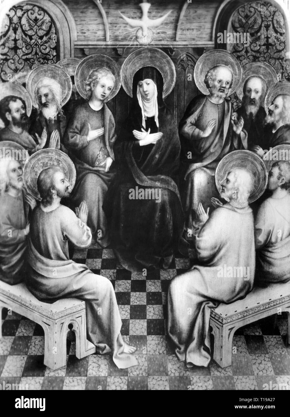 religion, Christianity, Whitsun, Mary surroundes by the apostles, painting, by the Master of the Heisterbach Altar, before 1448, old pinacotheca, Munich, Artist's Copyright has not to be cleared - Stock Image