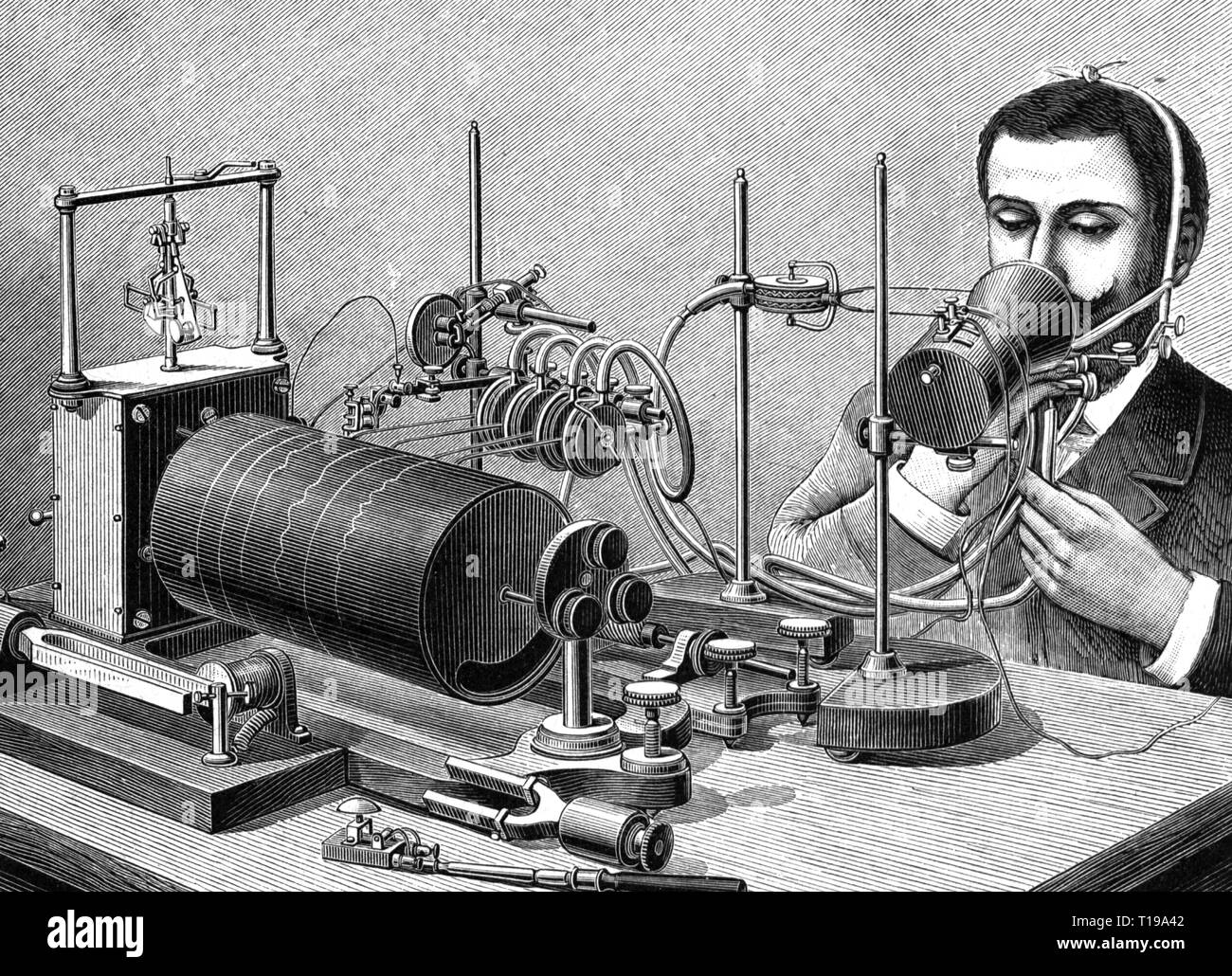 technics, machinery, appliance for the recording of language by Jean-Pierre Rousselot, wood engraving, circa 1900, Artist's Copyright has not to be cleared - Stock Image
