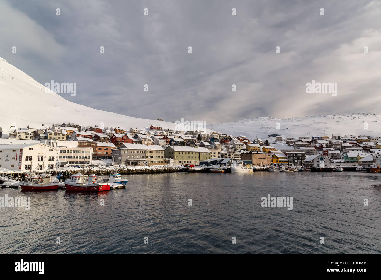 The port town of Honningsvag in Norway. - Stock Image