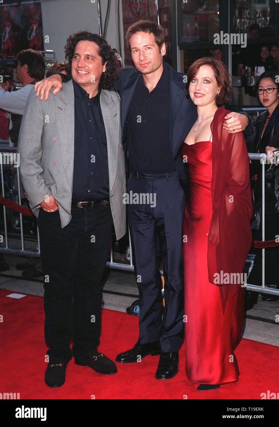 LOS ANGELES, CA - September 8, 2011:  Director ROB BOWMAN (left), actor DAVID DUCHOVNY & actress GILLIAN ANDERSON at the world premiere, in Los Angeles, of their movie 'The X-Files.' - Stock Image