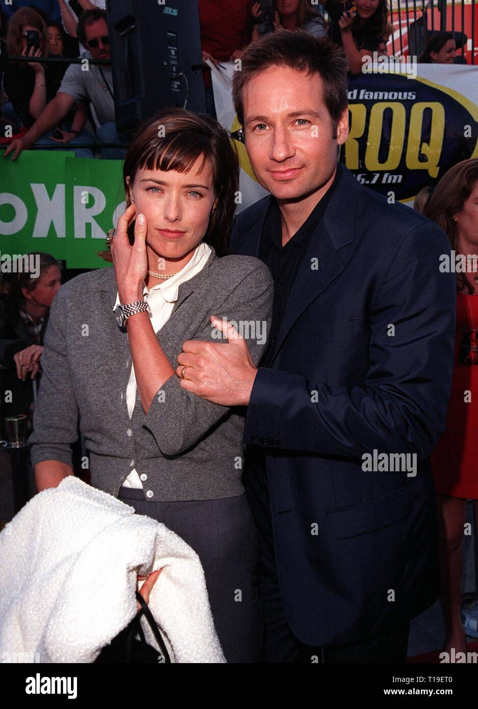 LOS ANGELES, CA - September 8, 2011:  Actor DAVID DUCHOVNY & actress wife TEA LEONI at the world premiere, in Los Angeles, of his new movie 'The X-Files.' - Stock Image