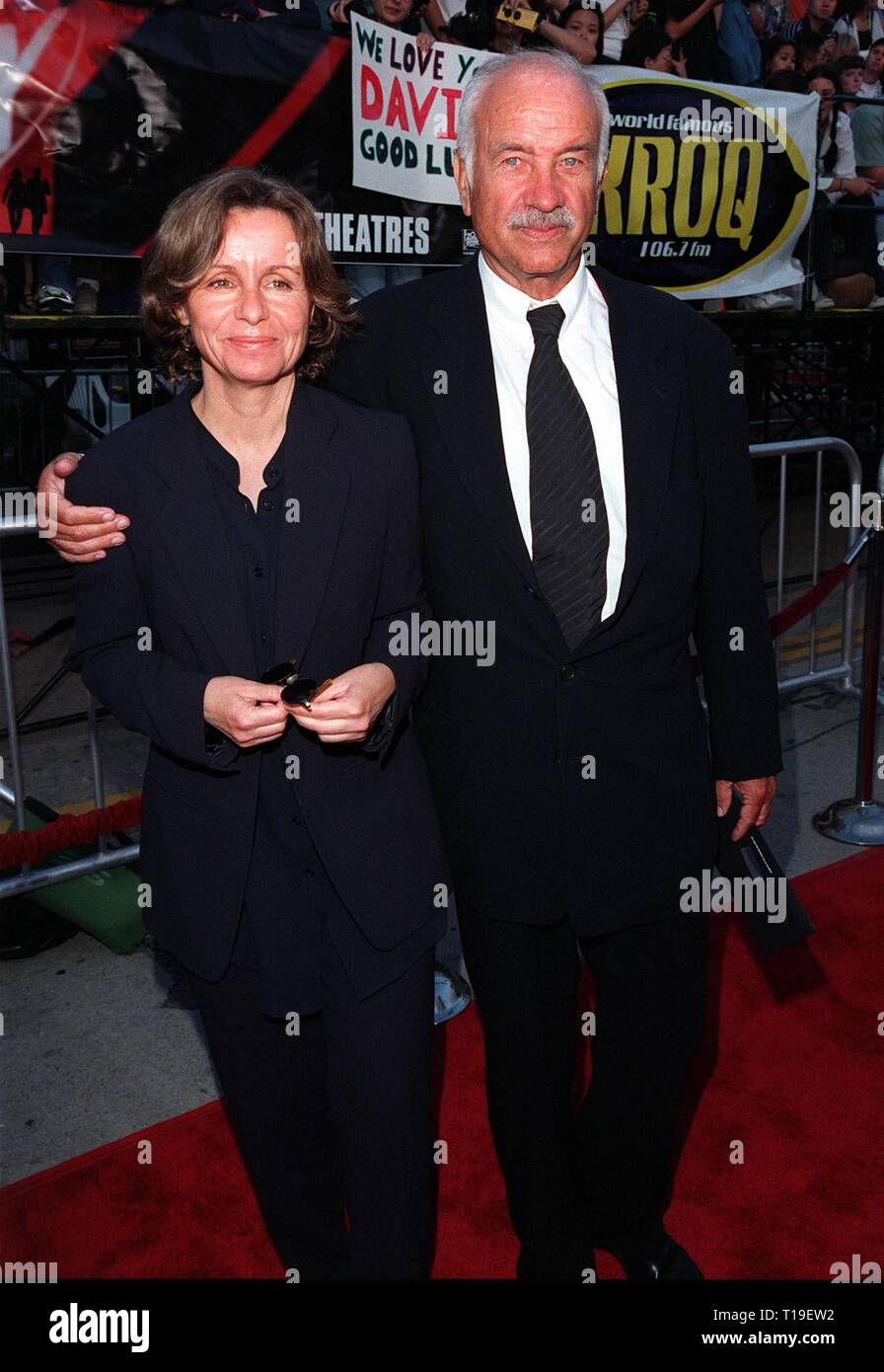 """LOS ANGELES, CA - September 8, 2011:  Actor ARMIN MUELLER-STAHL & wife at the world premiere, in Los Angeles, of his new movie """"The X-Files."""" Stock Photo"""