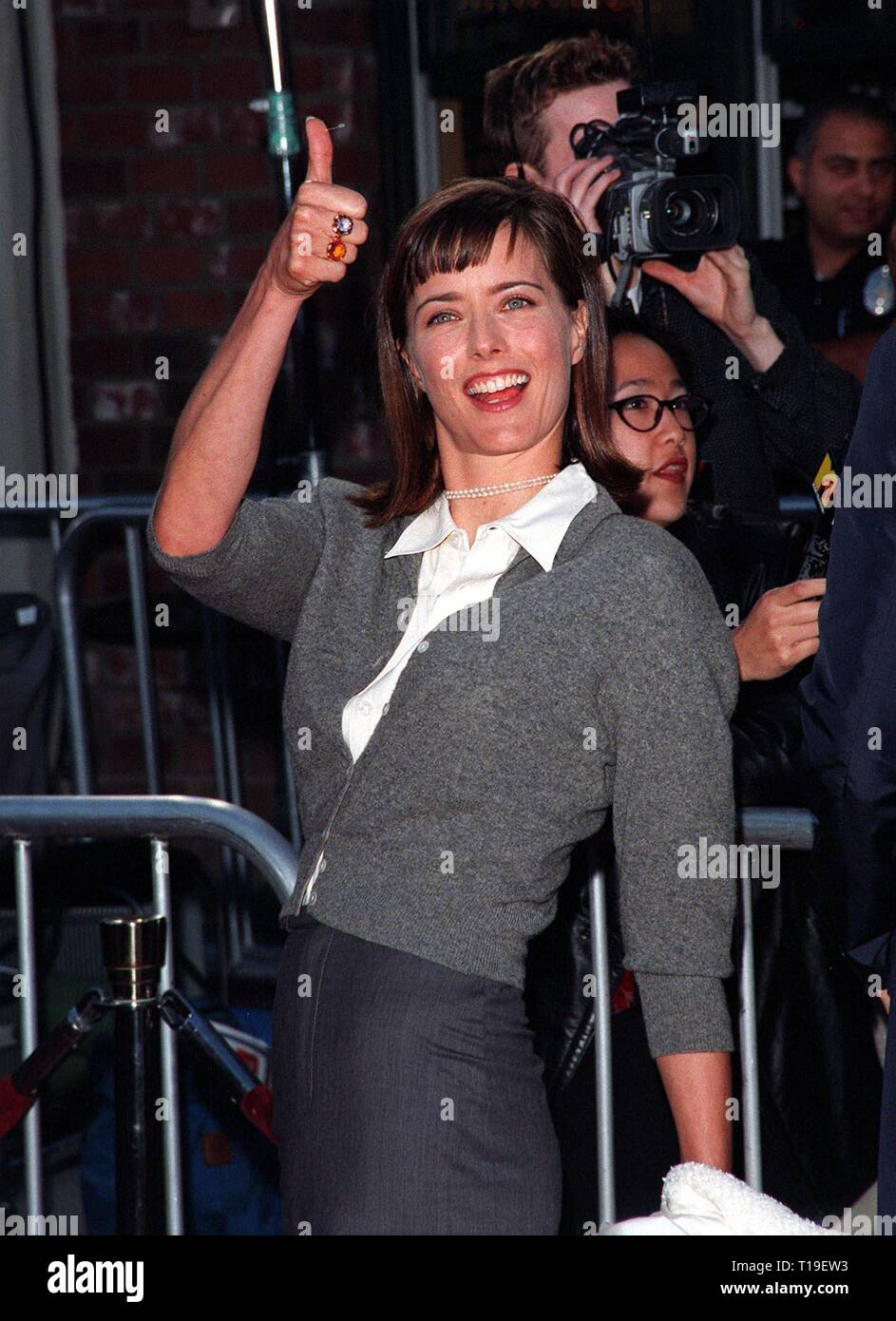LOS ANGELES, CA - September 8, 2011:  Actress TEA LEONI at the world premiere, in Los Angeles, of husband David Duchovny's new movie 'The X-Files.' - Stock Image