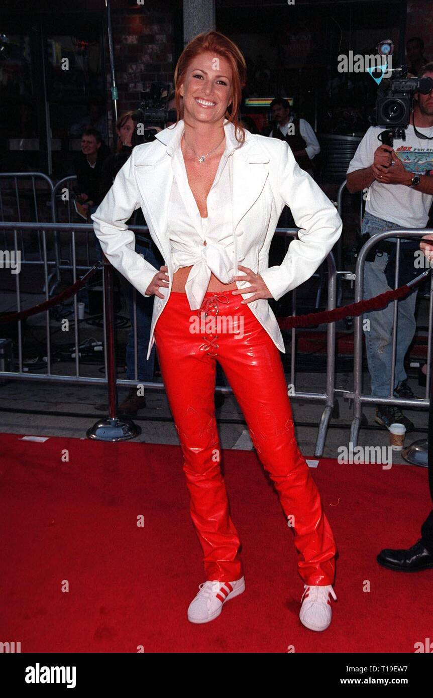 LOS ANGELES, CA - September 8, 2011:  Model ANGIE EVERHART at the world premiere, in Los Angeles, of 'The X-Files.' - Stock Image
