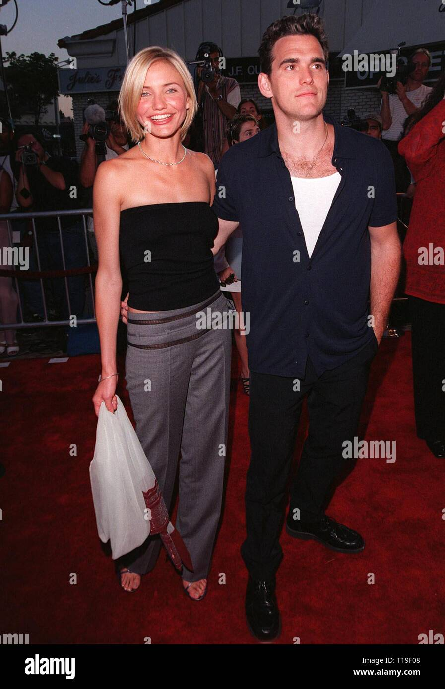 LOS ANGELES, CA - July 9, 1998: Actress CAMERON DIAZ & boyfriend & co-star MATT DILLON at the world premiere, in Los Angeles, of their new movie 'There's Something About Mary.' - Stock Image