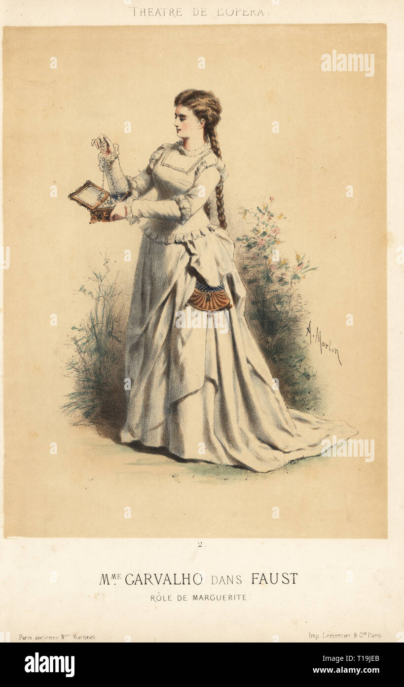 Marie Caroline Miolan-Carvalho, French soprano, in the role of Marguerite in Charles Gounod's Faust at the Theatre de l'Opera, 1870s. Handcoloured lithograph by A. Morlon published by Martinet, Paris, 1870s. - Stock Image