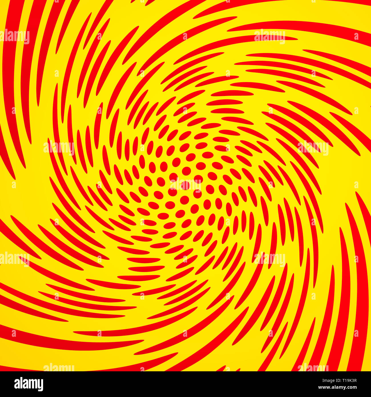 Mesh of dots with strong whirling, rotation effect. Malformed, rotated graphics. Vector. - Stock Image