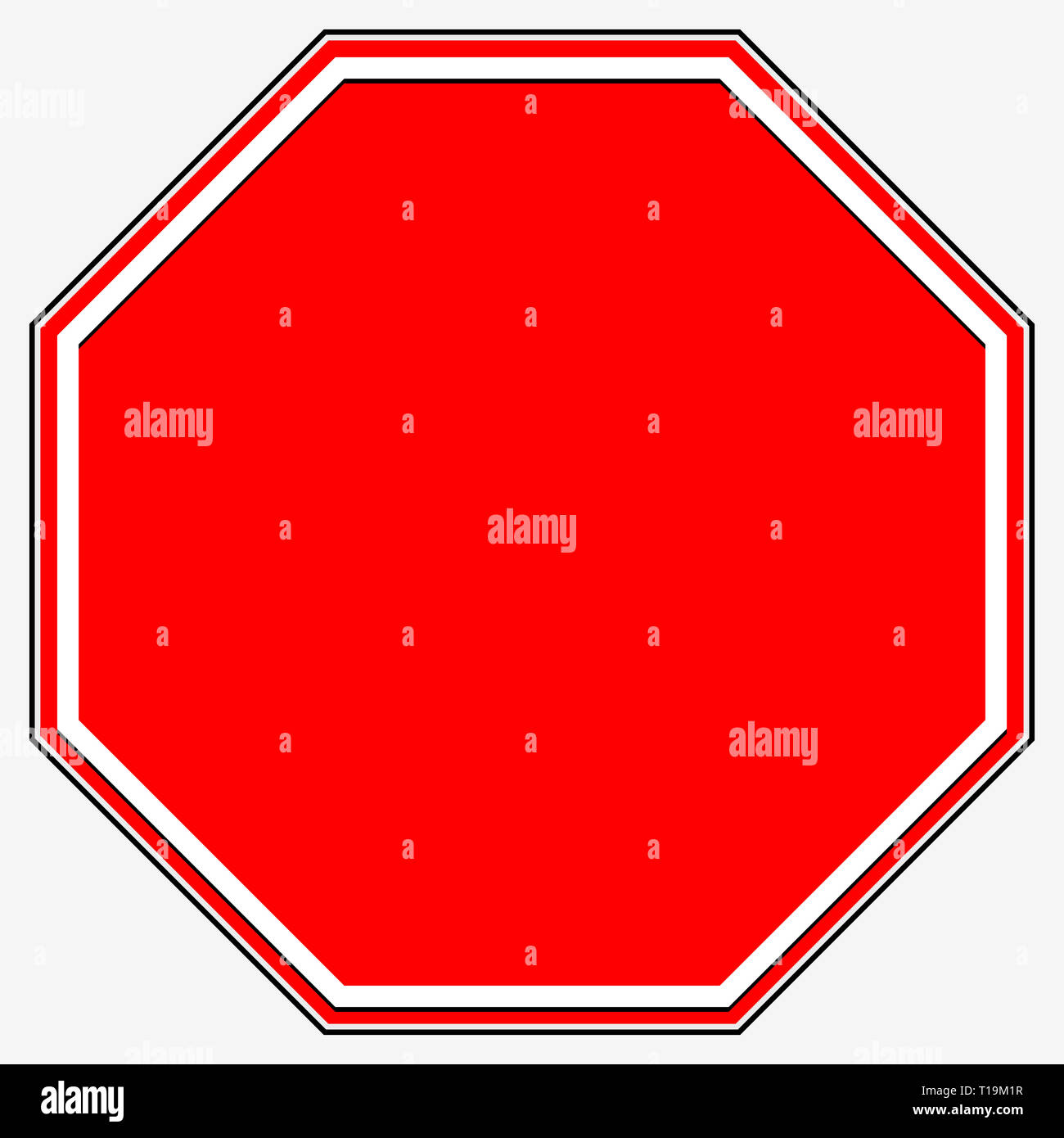 Blank stop sign  Blank red octagonal prohibition, restriction road