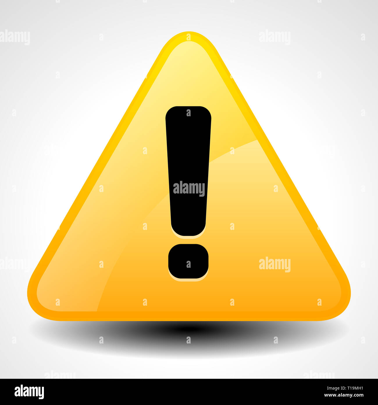 Yellow and orange warning, attention, caution sign. Road sign with exclamation point, exclamation mark. - Stock Image