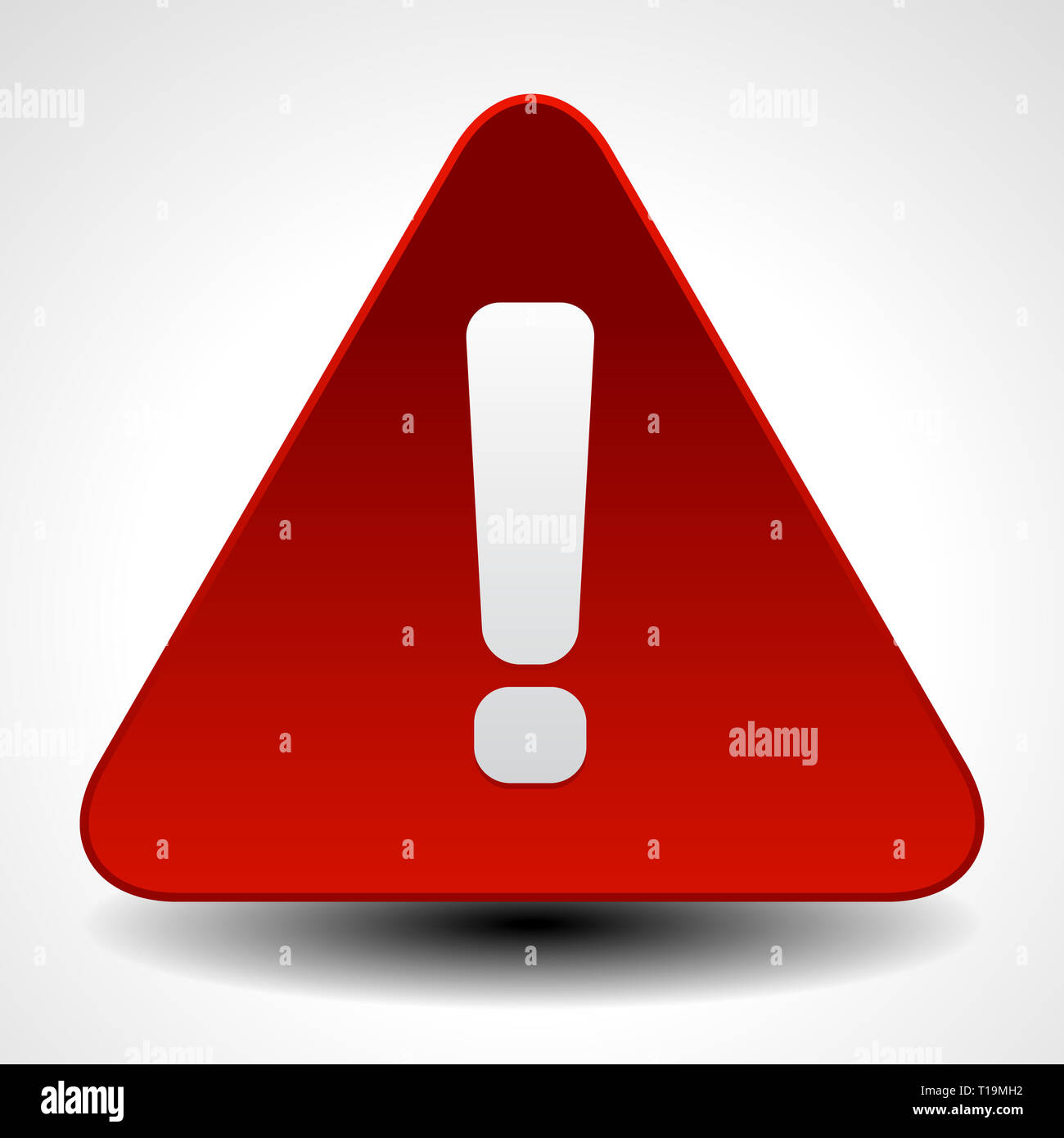 Red warning, attention, caution sign. Road sign with exclamation point, exclamation mark. - Stock Image