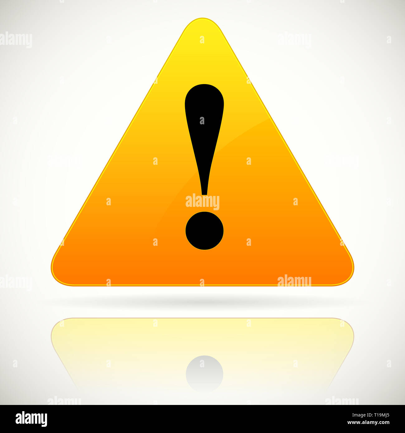 Triangular yellow roadsign with exclamation mark over white. attention, hazard, safety, alert concepts - Stock Image