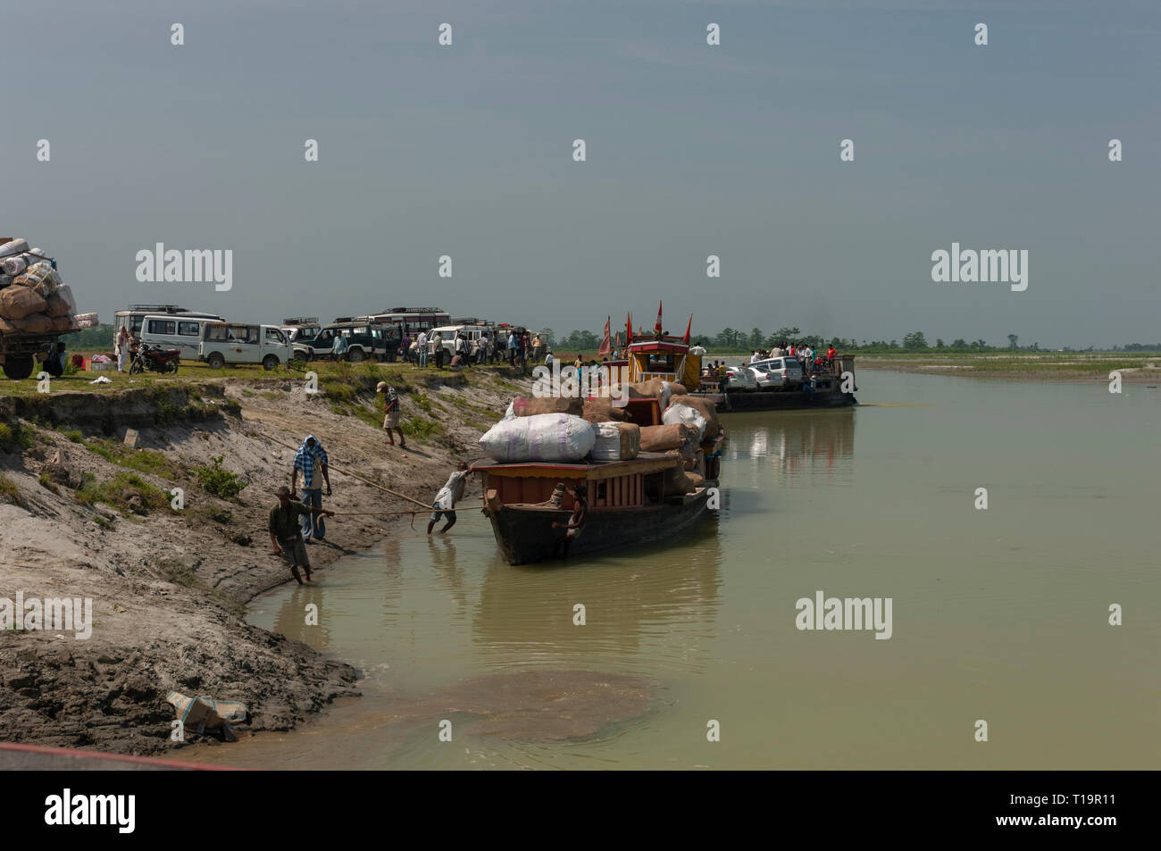 Trasport Ferry at Bhramaputra River Assam India Stock Photo