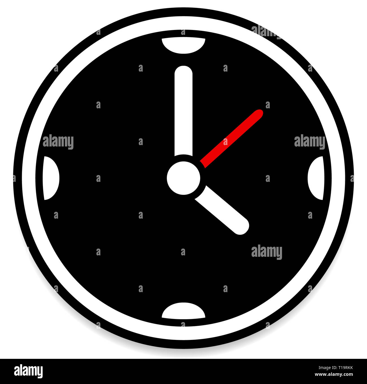 Clock Face Symbol, Eps 10 Vector Illustration - Stock Image
