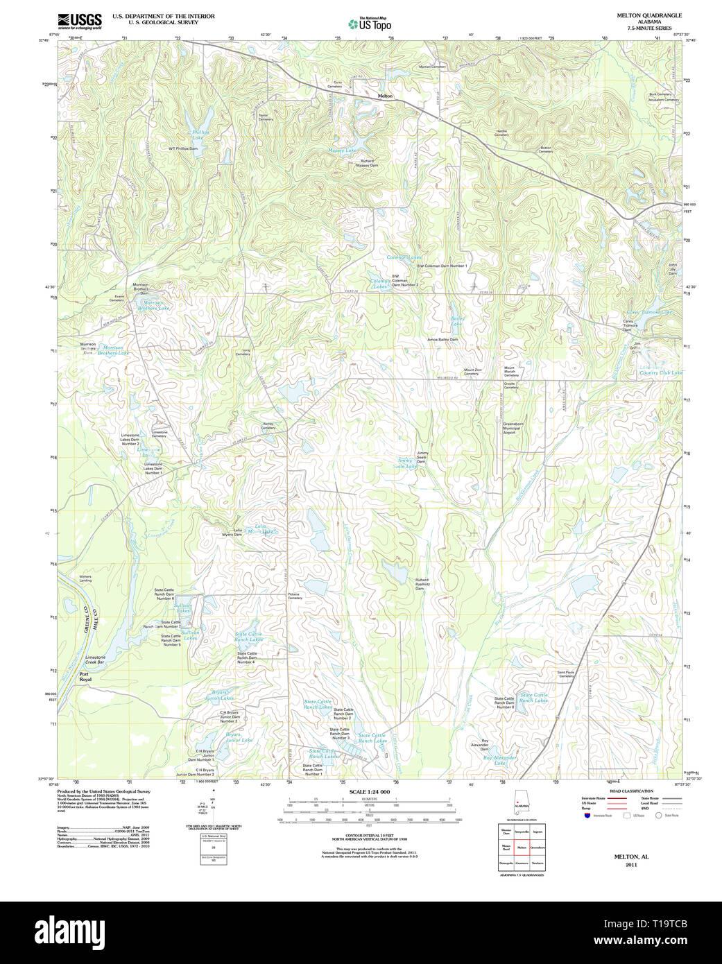 USGS TOPO Map Alabama AL Melton 20111206 TM Stock Photo