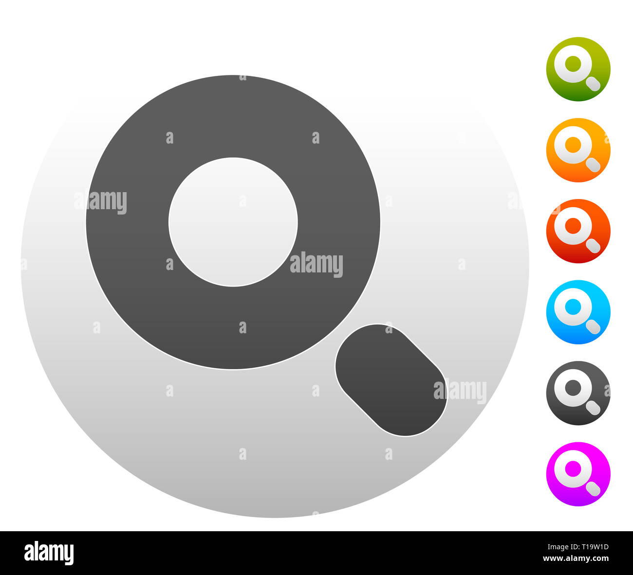 Magnifier / Magnifying glass symbol, icon. Seach, seek, zoom, enlarge themes. - Stock Image