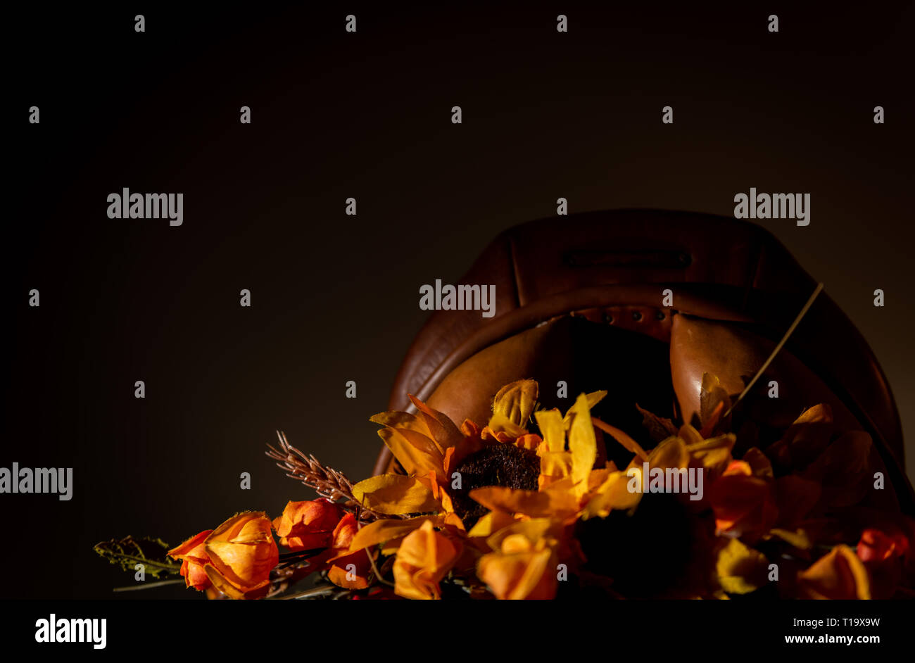 Thanksgiving hunt saddle posed with autumn flowers - Stock Image