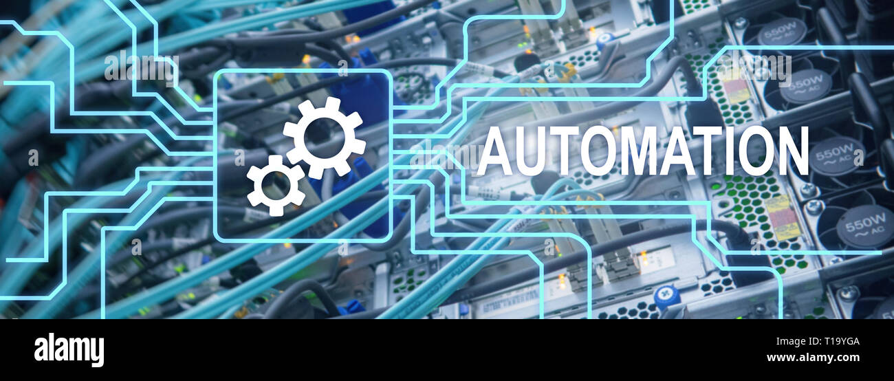 Automation productivity increase concept. Technology Process on a server room background - Stock Image