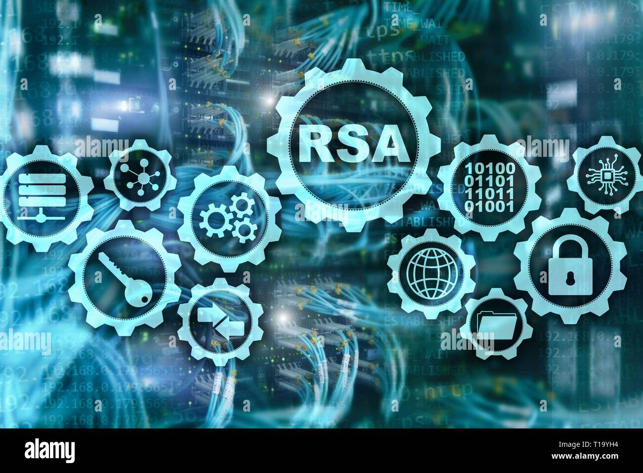 RSA. Rivest Shamir Adleman cryptosystem. Cryptography and Network Security - Stock Image