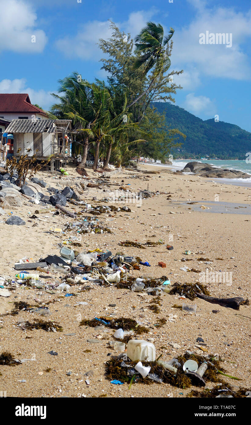 Beach pollution, washed up flotsam after tropical storm 'Pabuk', Lamai Beach, Koh Samui, Gulf of Thailand, Thailand - Stock Image