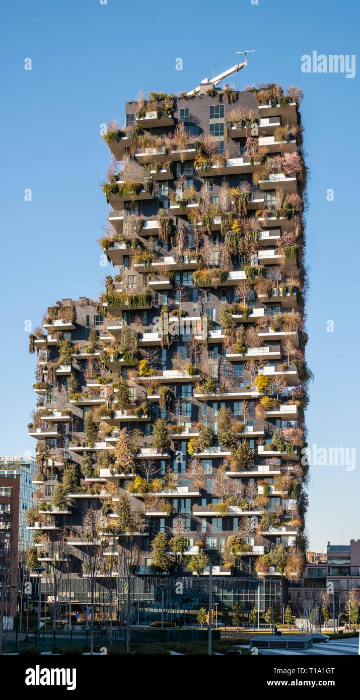 03/05/2019, Milan, Italy: famous sustainable building  named 'bosco verticale' (vertical wood) in the new district of the city. - Stock Image