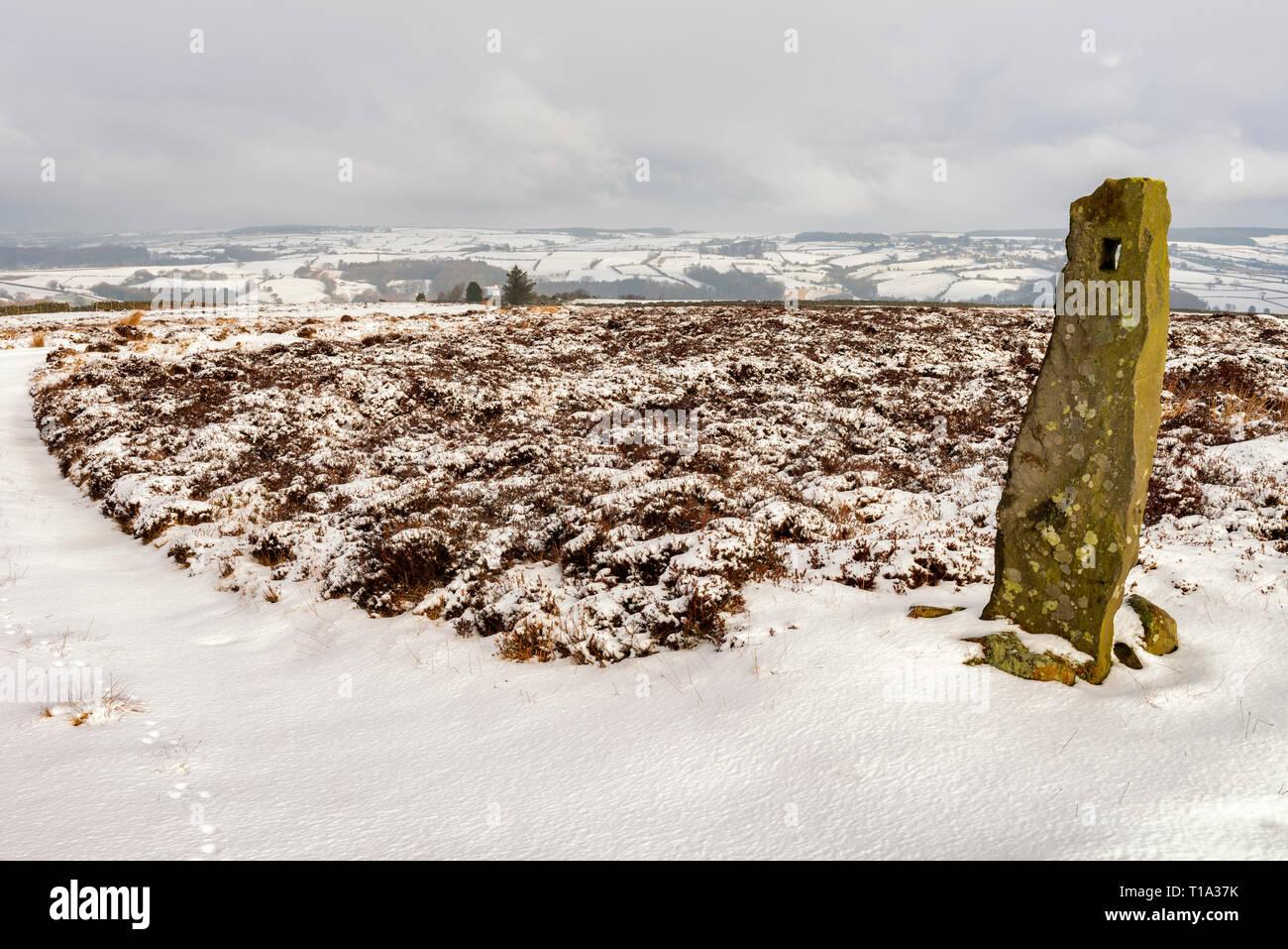 A stone gate post on Murk Mire Moor, near Egton Bridge - Stock Image