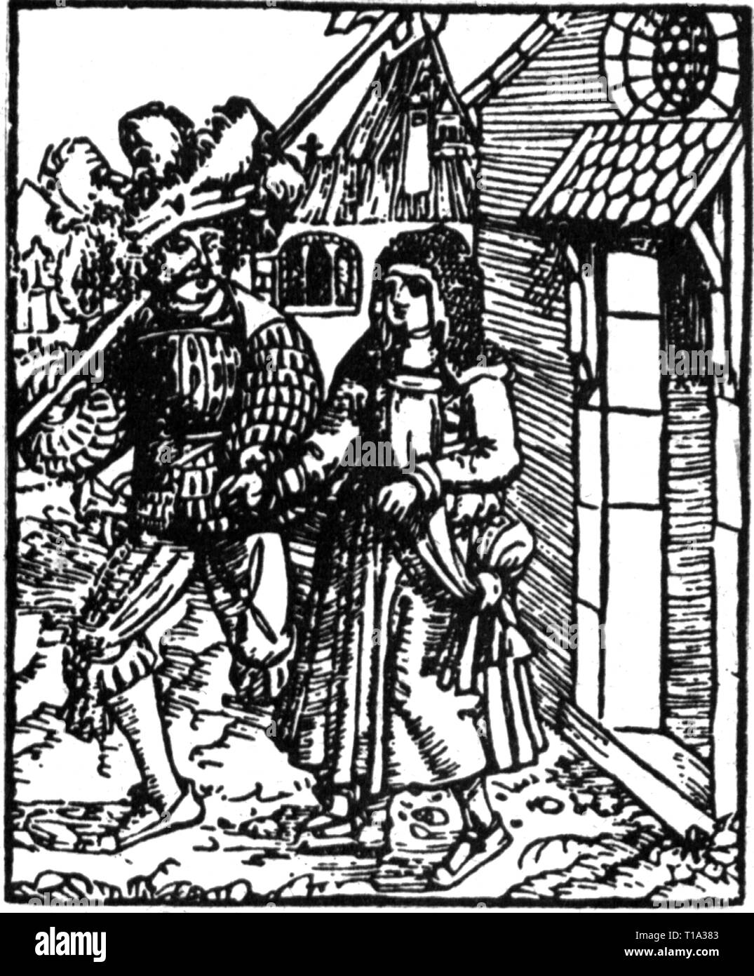 religion, clergyman / nun, abduction of a nun from the convent, woodcut, by Thomas Murner, 1522, Additional-Rights-Clearance-Info-Not-Available - Stock Image