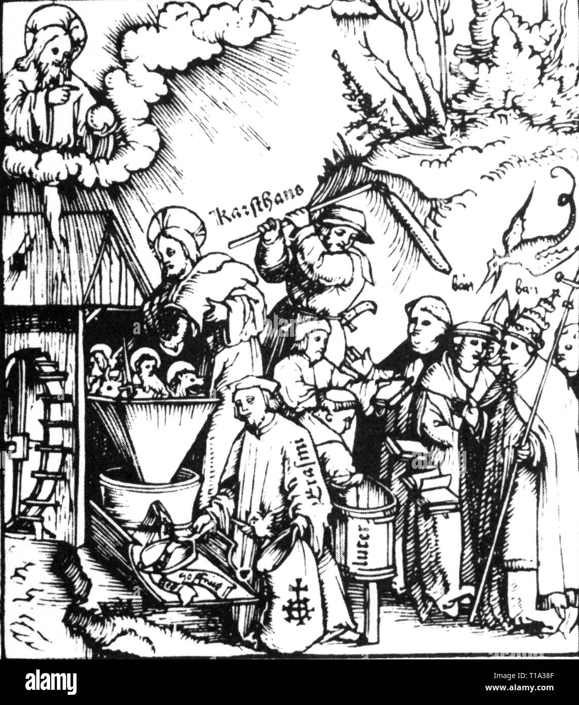 religion, Reformation / selling of indulgences, 'The Divine Mill', woodcut, for pamphlet of Martin Seger (circa 1470 - 1534) / Hans Fuessli (1477 - 1538), print: Christoph Froschauer the Elder, Zurich, 1521, Additional-Rights-Clearance-Info-Not-Available - Stock Image
