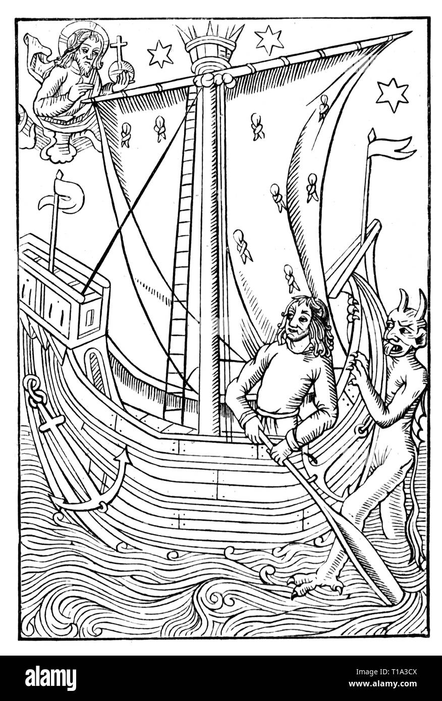 religion, Christianity, allegory, God and Satan vying for the soul of a man, woodcut, from: 'Le grant kalendrier et compost des Bergiers', print: Nicolas le Rouge, Troyes, 1496, Additional-Rights-Clearance-Info-Not-Available - Stock Image