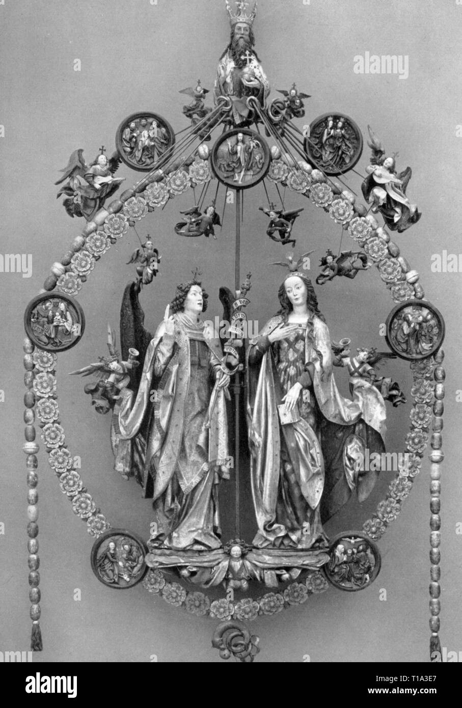 religion, Christianity, Madonna / Mary with child, 'Annunciation by the archangel Gabriel', sculpture, by Veit Stoss (circa 1447 - 1533), 1517 / 1518, wood, painted, Saint Lawrence's Church, Nuremberg, Additional-Rights-Clearance-Info-Not-Available - Stock Image