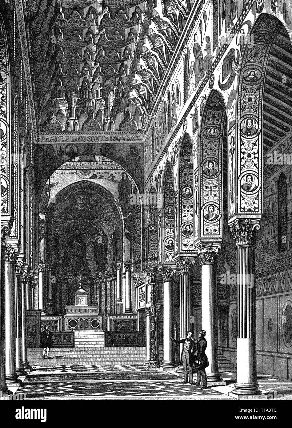 geography / travel historic, Italy, cities and communities, Palermo, castles, Palazzo Reale, interior view, Cappella Palatina, wood engraving, after Jules Gailhabaud, later 19th century, Artist's Copyright has not to be cleared - Stock Image